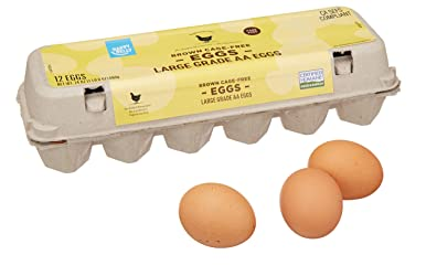 Amazon Brand - Happy Belly Cage-Free, Grade AA, Large Brown Eggs, 1 Dozen