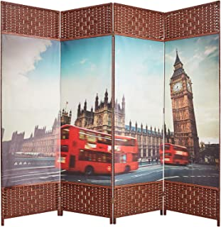 cocosica Decorative Canvas Room Dividers and Folding Privacy Screens, Hand-Weaved Wood Partition Wall Dividers 4 Panels - The Big Ben (6.5ft)