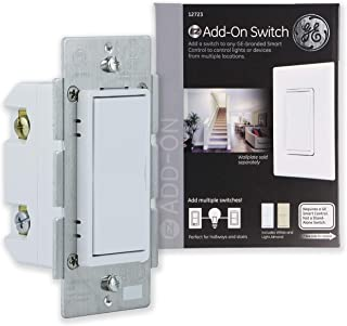 GE Add-On Switch for GE Z-Wave, GE ZigBee and GE Bluetooth Wireless Smart Lighting Controls, NOT A STANDALONE SWITCH, Includes White & Light Almond Paddles, 12723