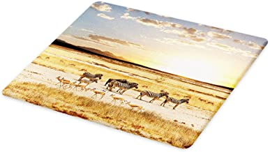 Lunarable Safari Cutting Board, Zebras with Their Striped Coats in Savannahs Sunset Adventure Africa Wild Safari, Decorative Tempered Glass Cutting and Serving Board, Large Size, Yellow Cream