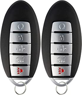 KeylessOption Keyless Entry Remote Control Starter Smart Car Key Fob Alarm for Nissan Infiniti KR5S180144014 (Pack of 2)