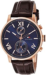 Tommy Hilfiger Men's Casual Stainless Steel Quartz Watch with Leather Calfskin Strap, Brown, 22 (Model: 1791308)