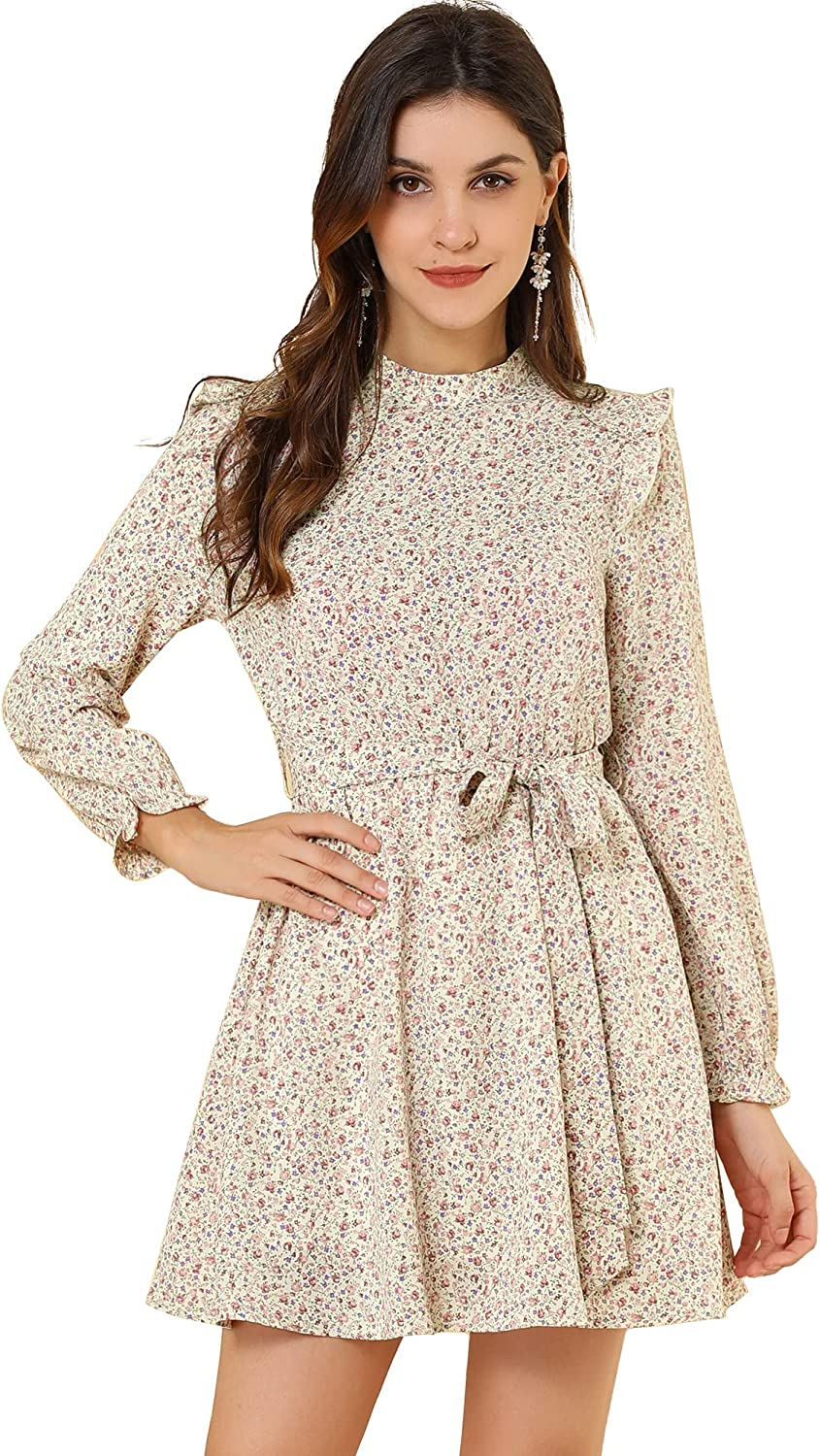 Allegra K Women's Ruffled Trim Stand Vintage Max 71% OFF Belted Collar Daisy Popular products