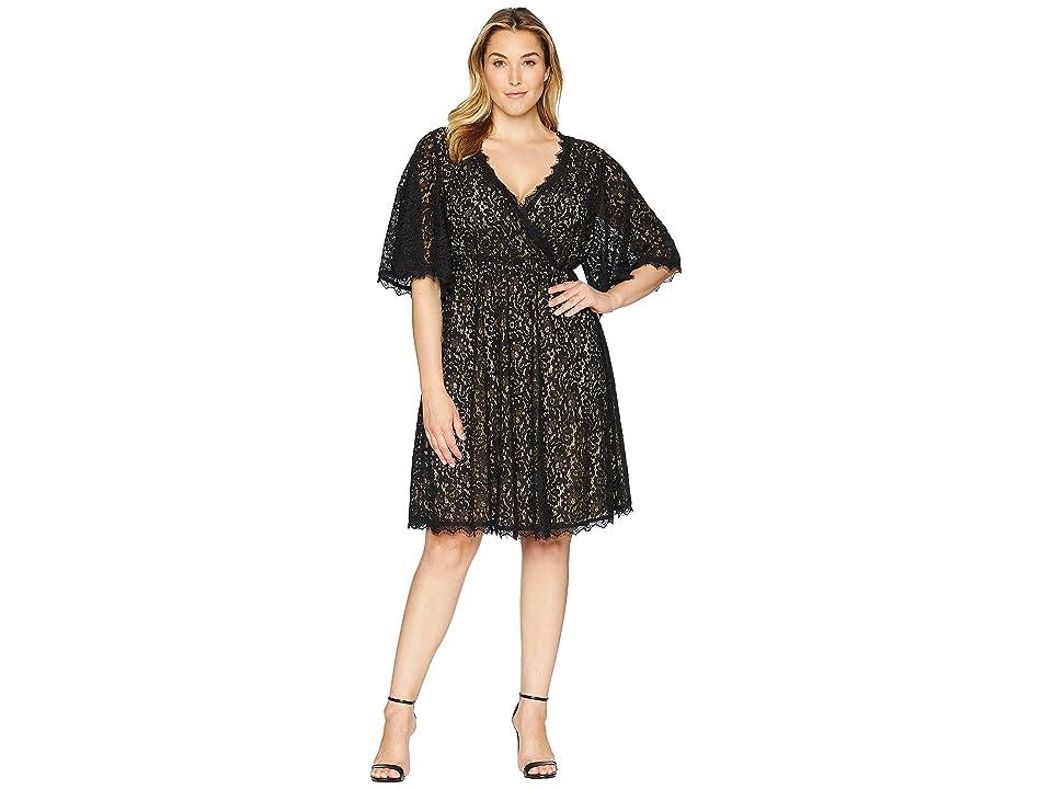 KARI LYN Plus Size Beatrice V-Neck Lace Dress (Black) Women