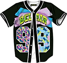 HOP FASHION Unisex 90s Theme Baseball Jersey Short Sleeve 3D Print Tees for Party