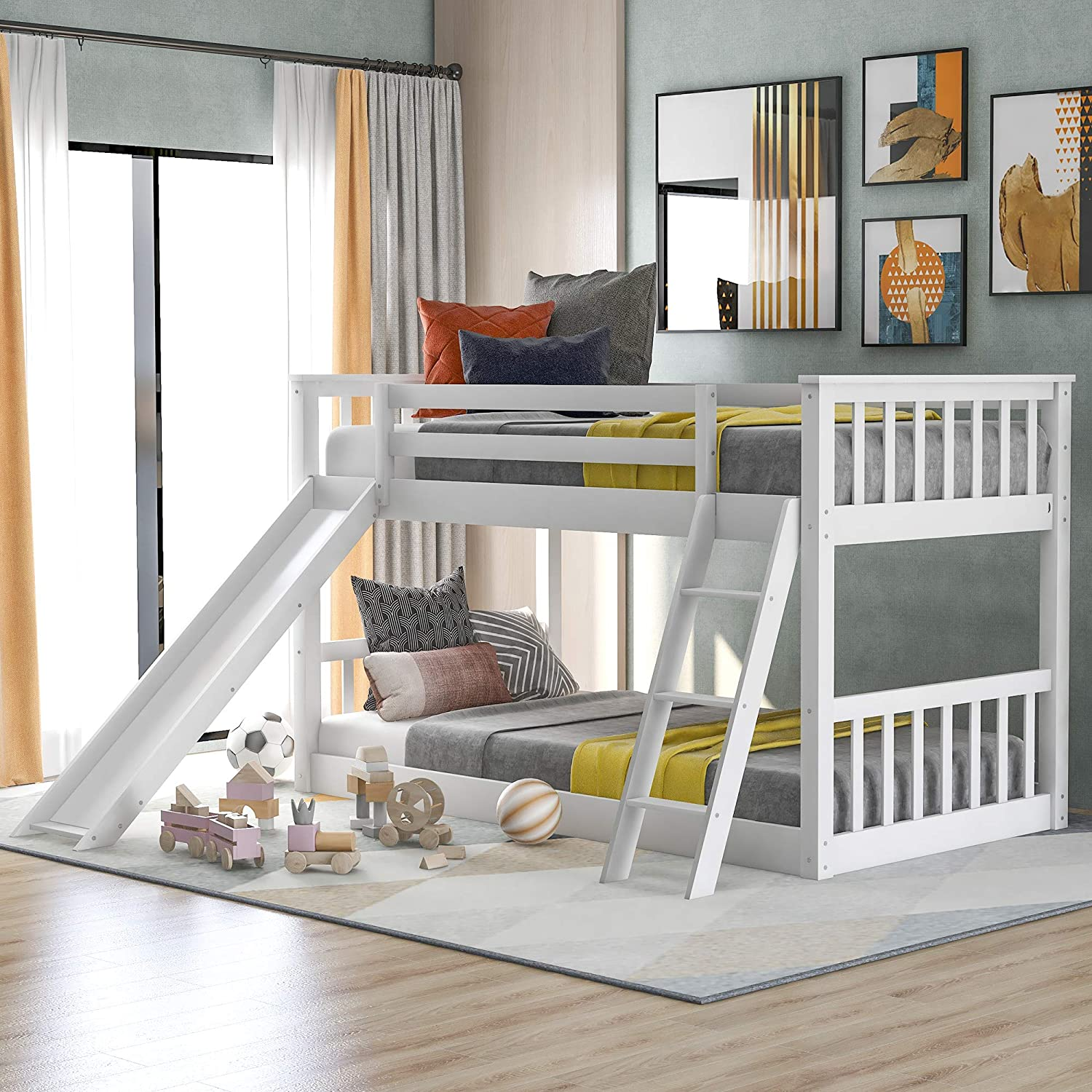 Tulsa Mall Solid Wood Low Bunk Bed Floor Kids Twin for Over Tampa Mall