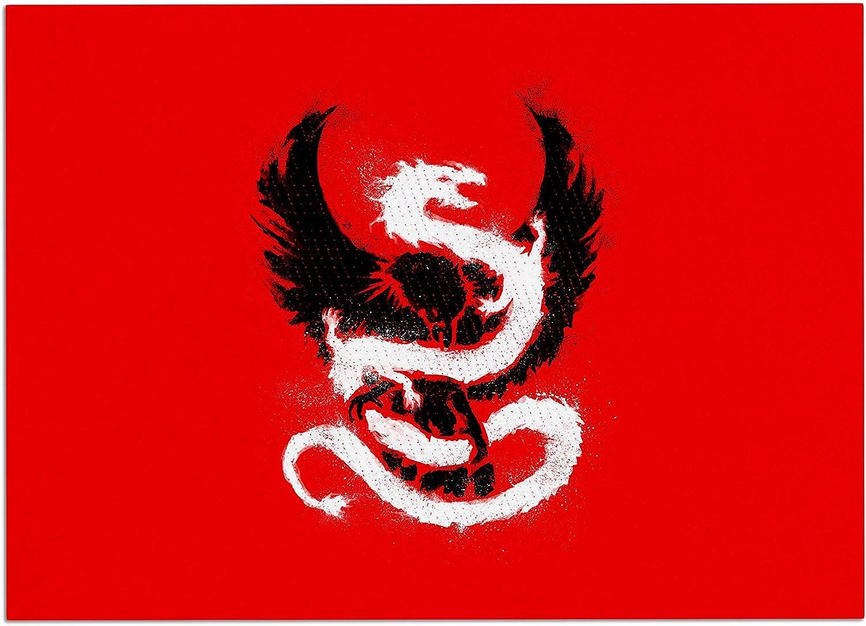 KESS InHouse RT1088ADM02 BarmalisiRTB Eagle Dragon Red Illustration Dog Place Mat, 24  x 15