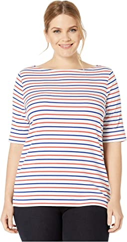 50ca2ce7 Lauren ralph lauren plus size striped cotton flutter sleeve t shirt ...