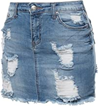 Awesome21 Women's Casual Destroyed Detail Denim Mini Skirt