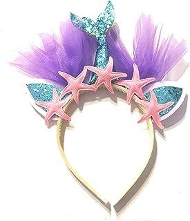 United Unicorns Best Mermaid Unicorn Cat Ears Girls Headband Tiara (Mermaid Blue Tail and Pink Starfish)
