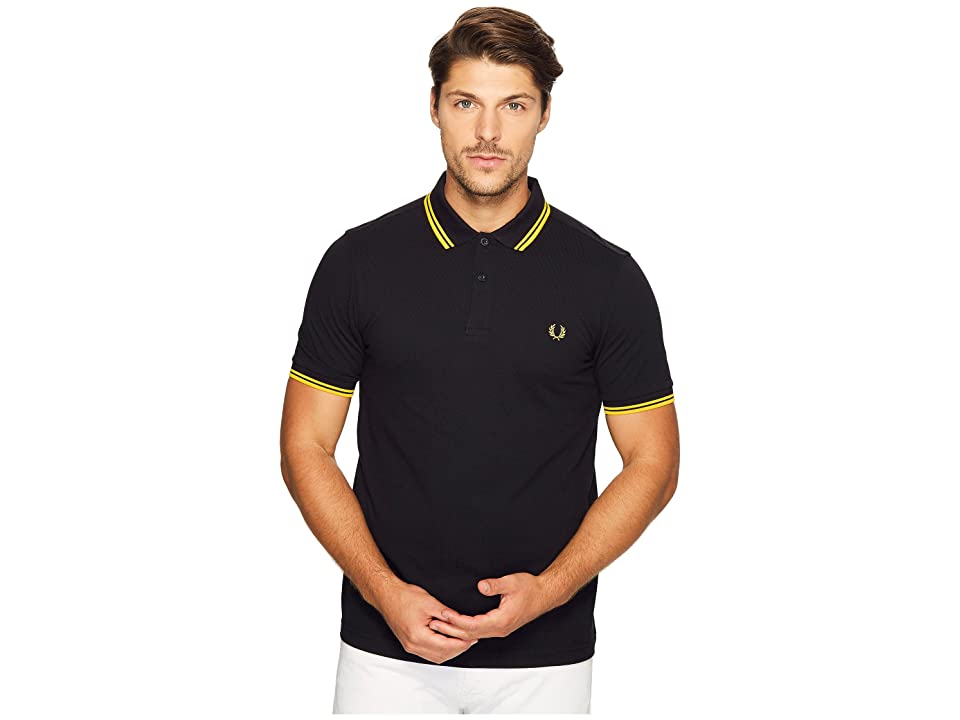 Fred Perry Twin Tipped Shirt (Black/Bright Yellow) Men's Short Sleeve Knit
