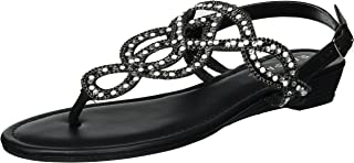 Rampage Womens Sandra Low Wedge Thong Sandal with Rhinestones