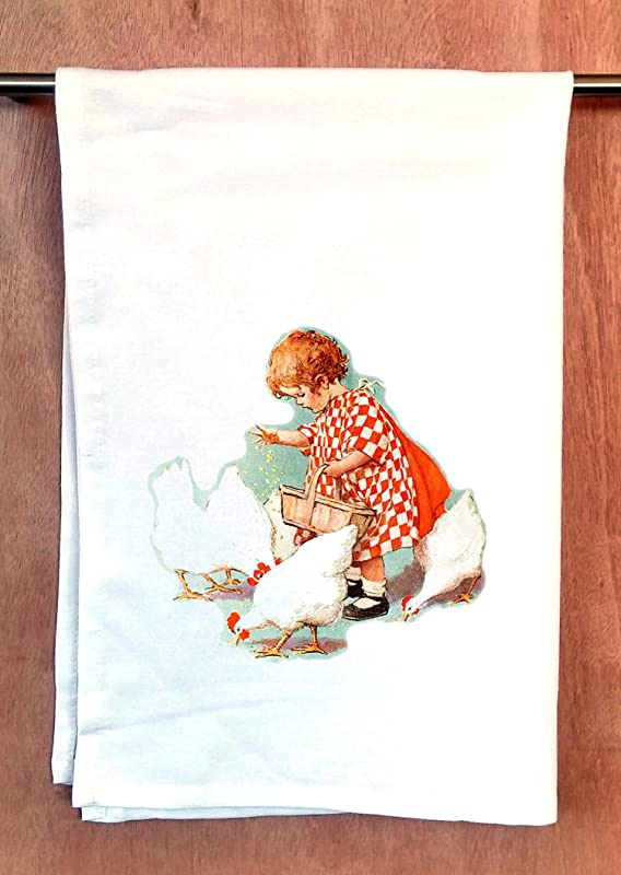 FlonzGift Tea Towel Baby Girl Feeding Chickens Vintage Print Cotton Kitchen Dish Towel 22 X30
