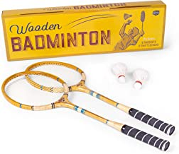 Crown Sporting Goods Vintage Wooden Badminton Set   Classic Outdoor Lawn Game for Backyard Family Fun   Includes 2 Solid W...
