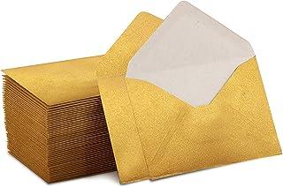 "Mini Envelopes Gold 4"" x 2.75"" Gift Card Envelopes. Easy-Seal Business Card/Gift Card Envelopes (100 Pack)"