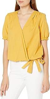 Lucky Brand womens Short Sleeve V-Neck Textured Wrap Top Blouse