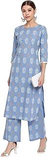 Janasya Indian Women's Blue Cotton Straight Kurta with Palazzo