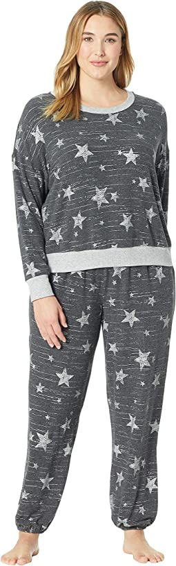 Plus Size Brushed Jersey Long Sleeve PJ Set