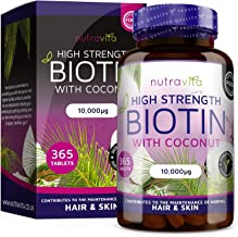 Biotin Hair Growth Supplement 10000mcg - 365 High Strength Biotin Tablets for Hair - Enhanced with Coconut Oil & Supports Normal Skin and Hair Growth - Made in UK by Nutravita