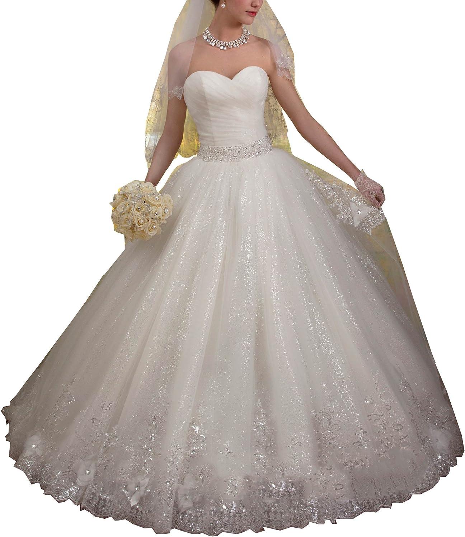 Datangep Women's Sweetheart Empire Crystals Waist Ball Gown Laceup Wedding Gown