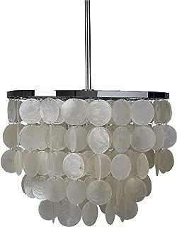 Rivet Capiz Shell Chandelier With Bulbs, 19.5
