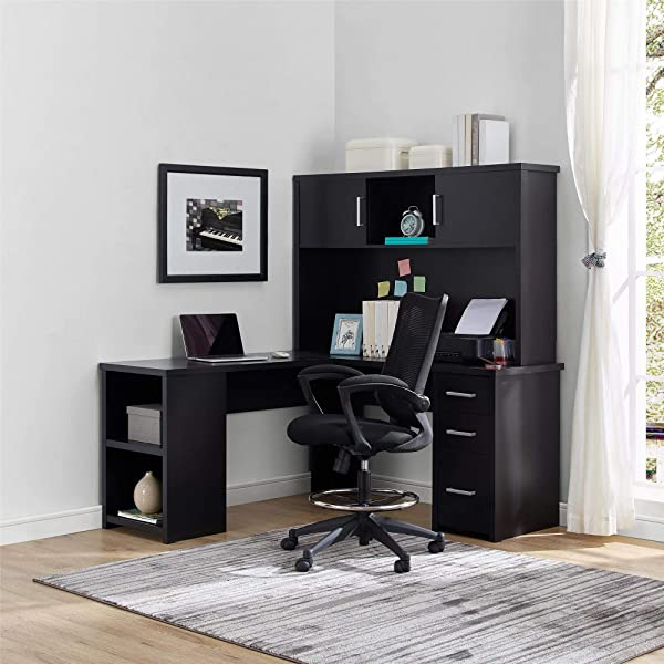 Ameriwood Home Eastway L Desk With Hutch Black Oak