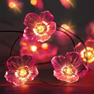 10ft 30 3D Flower LED String Lights Battery Powered with 8 Flicker Modes, Remote and Timer for Spring, Wedding, Birthday Parties, Christmas, DIY Home Mantel Decoration (Pink Cherry Blossom)