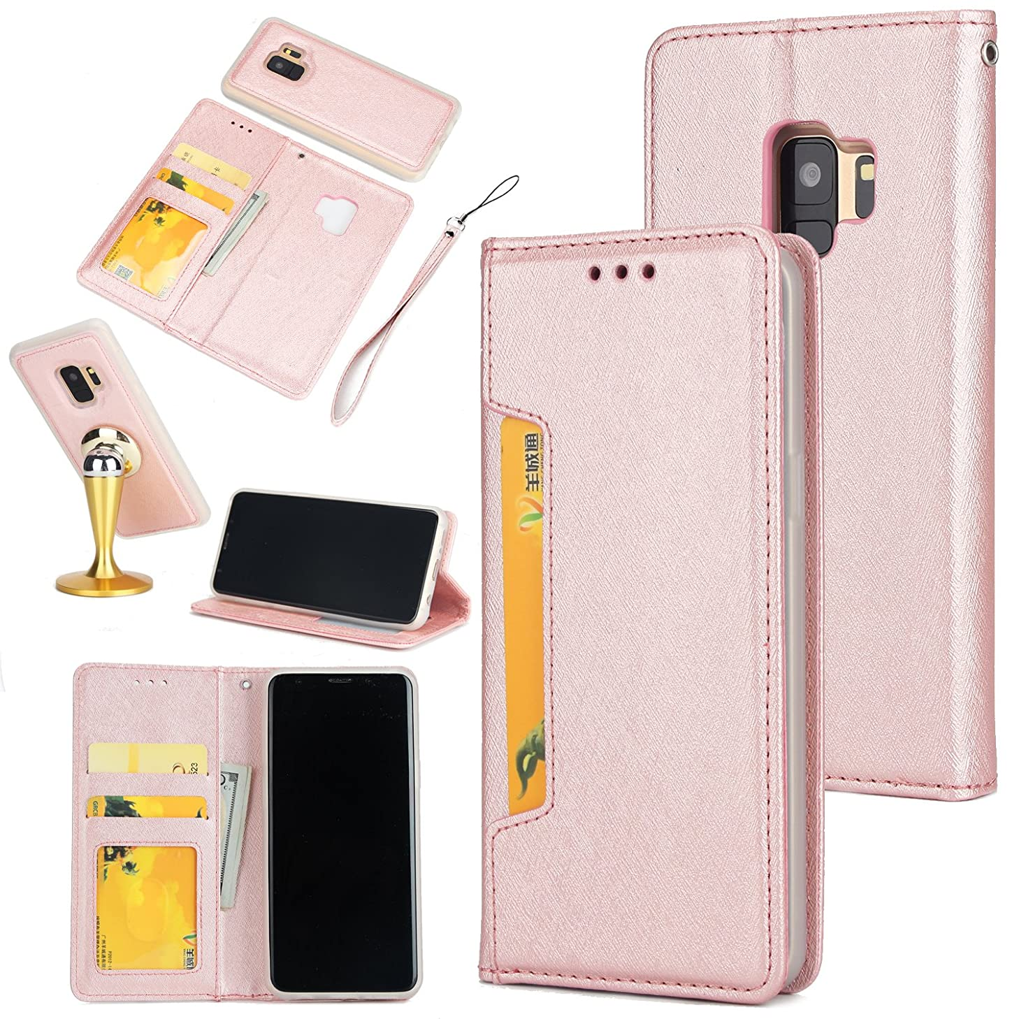 Gostyle Samsung Galaxy S9 Plus Case,2 in 1 Detachable Flip Wallet Case with Credit Card Slots,Work with Magnetic Car Mount,PU Leather Protective Cover for Samsung Galaxy S9 Plus,Rose Gold