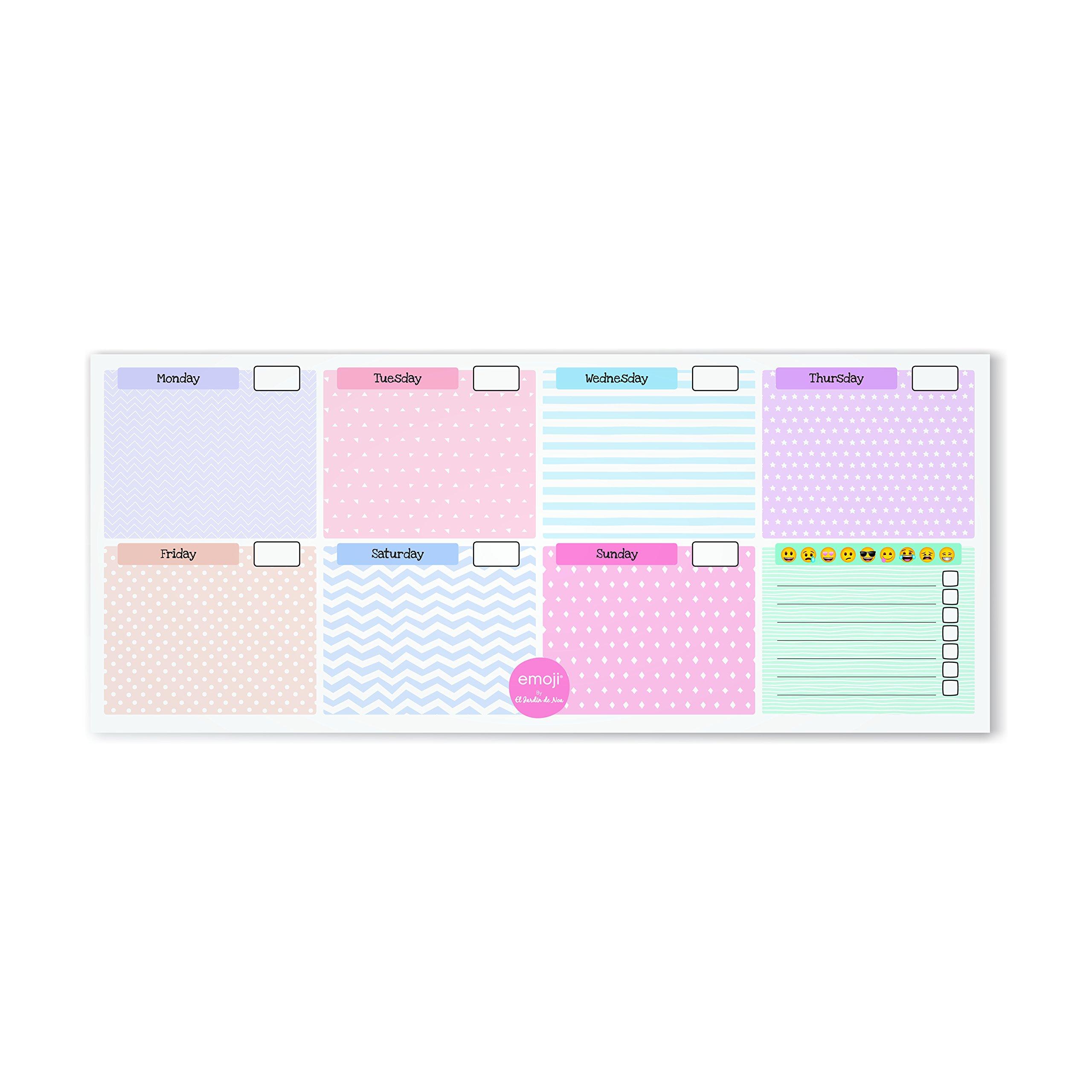El Jardin de Noa EBN1011A - Planificador semanal mini: Emoji By Noa: Amazon.es: Oficina y papelería
