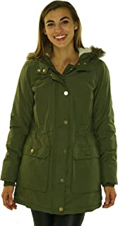 Womens Hooded Fur Trim Parka Green M