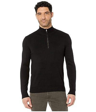 Calvin Klein Cotton Modal Long Sleeve 1/4 Zip (Black) Men