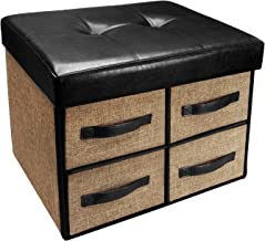 Ikee Design Folding Storage Bench - Faux Leather, Linen Collapsible Foot Rest Stool Seat with 4 Drawers