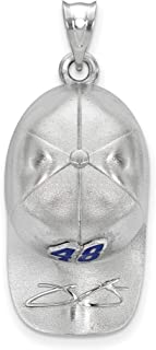 SS Enam LogoArt NASCAR #48 Jimmie Johnson Baseball Hat Pendant in Sterling Silver