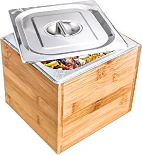 Exfoil Compost Bin Kitchen with lid,Indoor Compost Bin with Stainless Steel Insert Bamboo Wooden Box, Countertop Compost B...