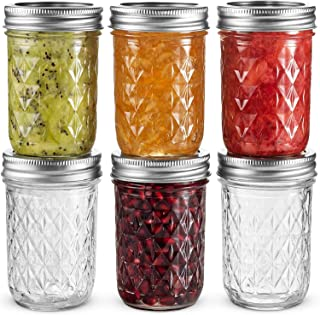 Ball Regular Mouth Mason Jars 8 oz, Set of 6 Canning Jelly Jars, With Lids and Bands, For canning, Freezing, Fermenting, P...