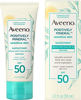 Aveeno Positively Mineral Sensitive Skin Daily Sunscreen Lotion for Face, Broad Spectrum SPF 50 with 100% Zinc Oxide, Ligh...
