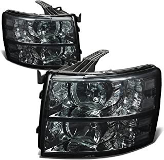 For Chevy Silverado 2nd Gen GMT900 Pair Smoked Lens Clear Corner 2-PC Headlight Lamps