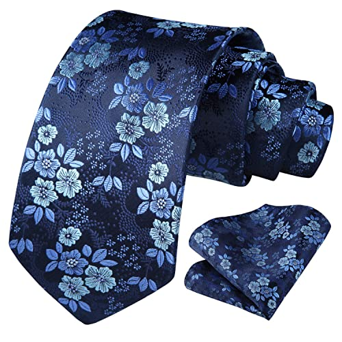 L04BABY Skinny Tie Navy White Floral Cotton Neck Ties for Men Pocket Squares Set