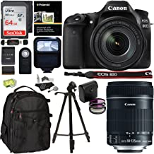 Canon EOS 80D Digital SLR Camera Kit, EF-S 18-135mm f/3.5-5.6 Image Stabilization USM Lens, Sandisk 64GB Memory Card, Flash, Filters and Accessory Bundle