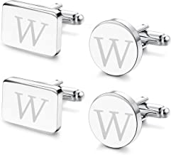 FIBO STEEL Personalized Initial Cufflinks Tie Clips Set for Men Gifts Custom Letter Wedding Cufflinks Case