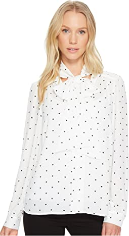 CeCe - Long Sleeve Gallery Polka Dots Tie Neck Blouse