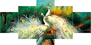Saumic Craft Set Of 5 Modern Art Peacock Nature Scenery 3D Wooden Wall Painting For Home Decoration / Living Room (75 X 43...
