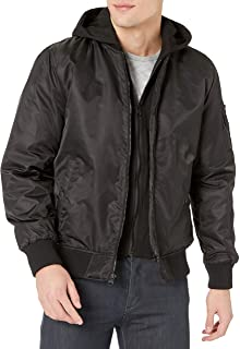 GUESS mens Hooded Bomber Jacket