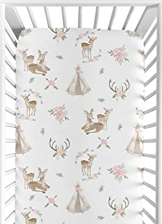 Sweet Jojo Designs Blush Pink, Mint Green and White Boho Baby or Toddler Fitted Crib Sheet for Woodland Deer Floral Collec...