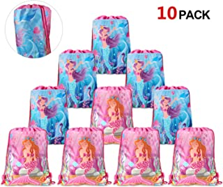 konsait Mermaid Party Bags Kids Mermaid Birthday Party Supplies Favors Gift Bags 10 Pack, Kids Party Candy Drawstring Bags Pouch, Goodie Bags for Children Girls Toddlers