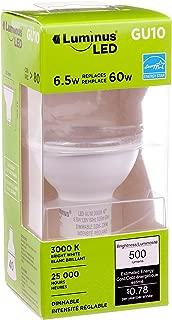 Luminus PLYC2333 GU10-6.5W (60W) 500 Lumens Bright White 3000K Dimmable LED Light Bulb-6 Pack