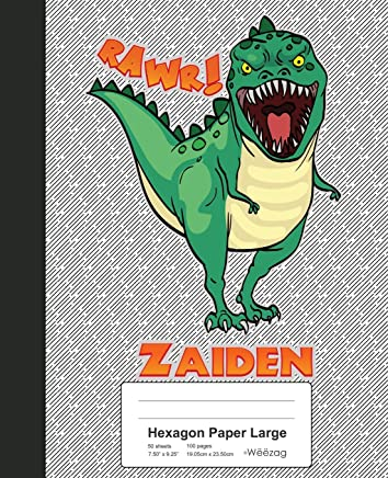 Hexagon Paper Large: ZAIDEN Dinosaur Rawr T-Rex Notebook