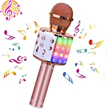 BlueFire Wireless 4 in 1 Bluetooth Karaoke Microphone with LED Lights, Portable Microphone for Kids, Best Gifts Toys for 4...