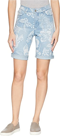 Soft Printed Denim Bermuda Shorts with Rolled Hem in Bleach