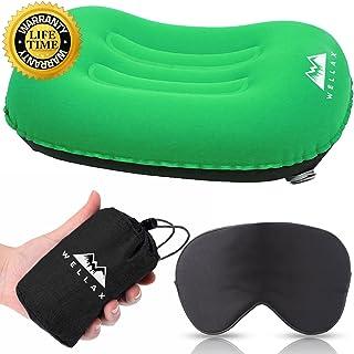 WellaX Ultralight Camping Pillow - Compressible, Compact, Inflatable, Comfortable, Ergonomic Pillow for Neck & Lumbar Supp...